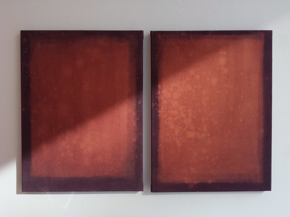 Romas Astrauskas, Untitled, 2012, Fabric dye on bleach on canvas, 24 x 18 inches each.