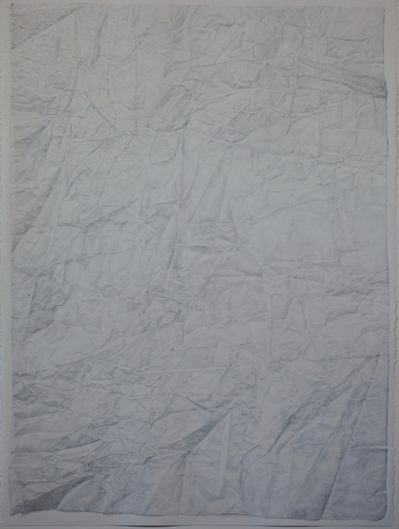 Claire Greenshaw, Wrinkles, 2015, coloured pencil on paper, 30 x 24 inches.