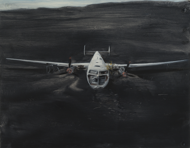 Sam Schmitt, air plane (gentle landing), 2015, oil on [acid free] cardstock, 8 x 10 inches.