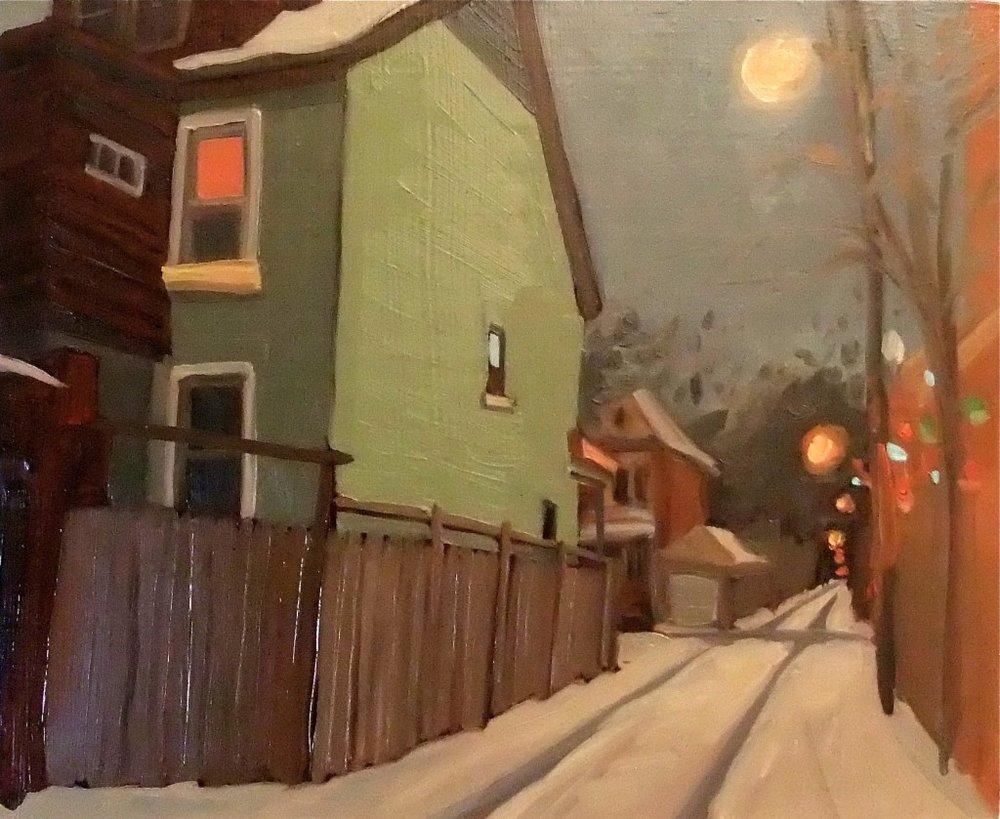 Roberta McNaughton, Winter-Dufferin, oil on wood panel,12 x 12 inches.