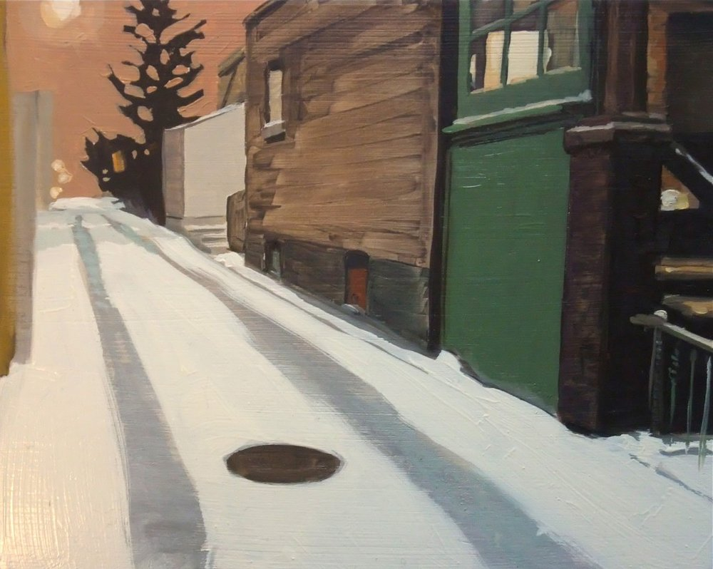 Roberta McNaughton, Winter-Fennings, oil on wood panel,8 x 10 inches.