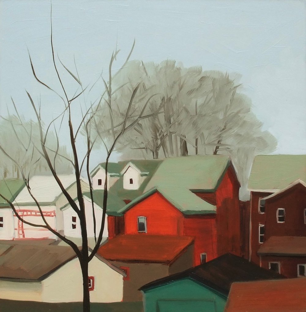 Roberta McNaughton, Winter-Kath's House, oil on wood panel, 12 x 12 inches.