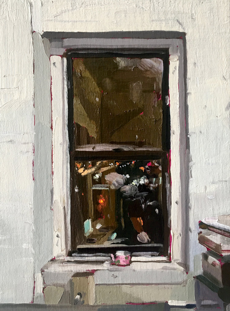 Night Window (teacup), 2017, oil on linen, 12 x 9 inches. SOLD