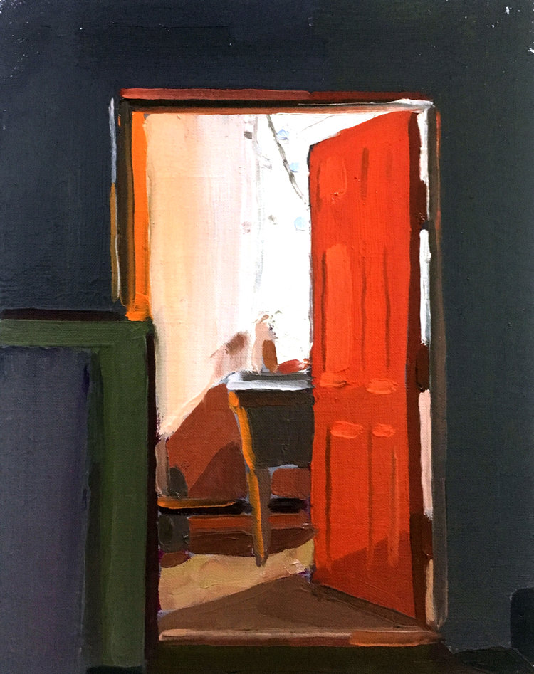 Orange Door, 2017, oil on linen, 12 x 9 inches,  SOLD.