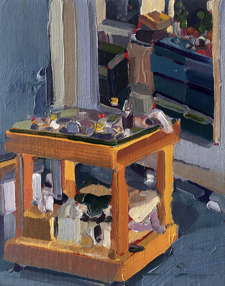 Painting Cart, 2017, oil on linen, 10 x 8 inches.  SOLD
