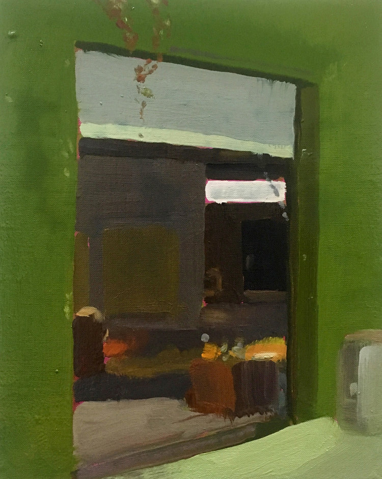Rollup Gate (afternoon), 2017, oil on linen, 10 x 8 inches.