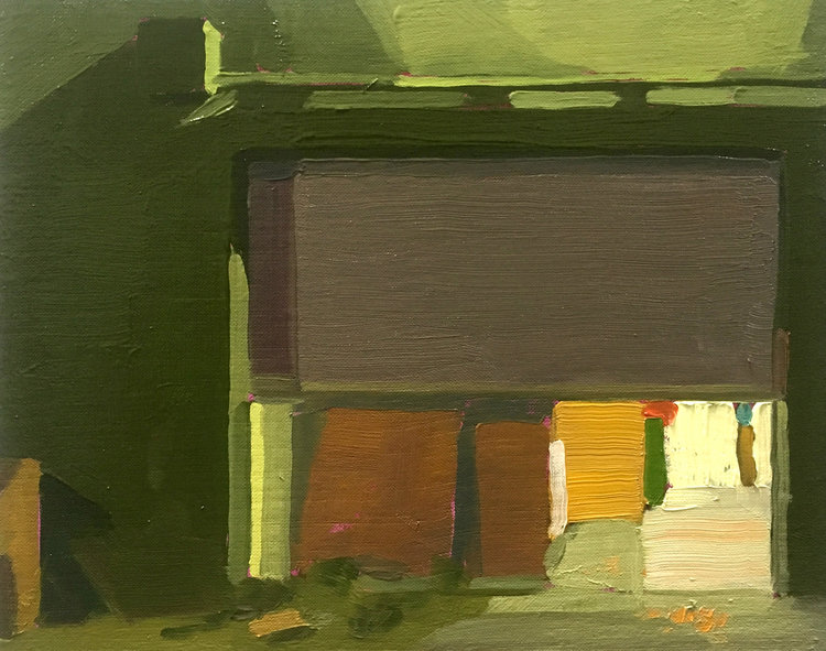 Rollup Gate (Night), 2017, oil on linen, 10 x 8 inches.  SOLD