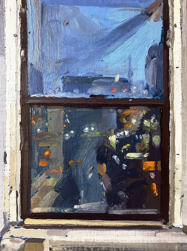 Evening Window (Blue), 2017, oil on linen over panel, 12 x 9 inches. SOLD