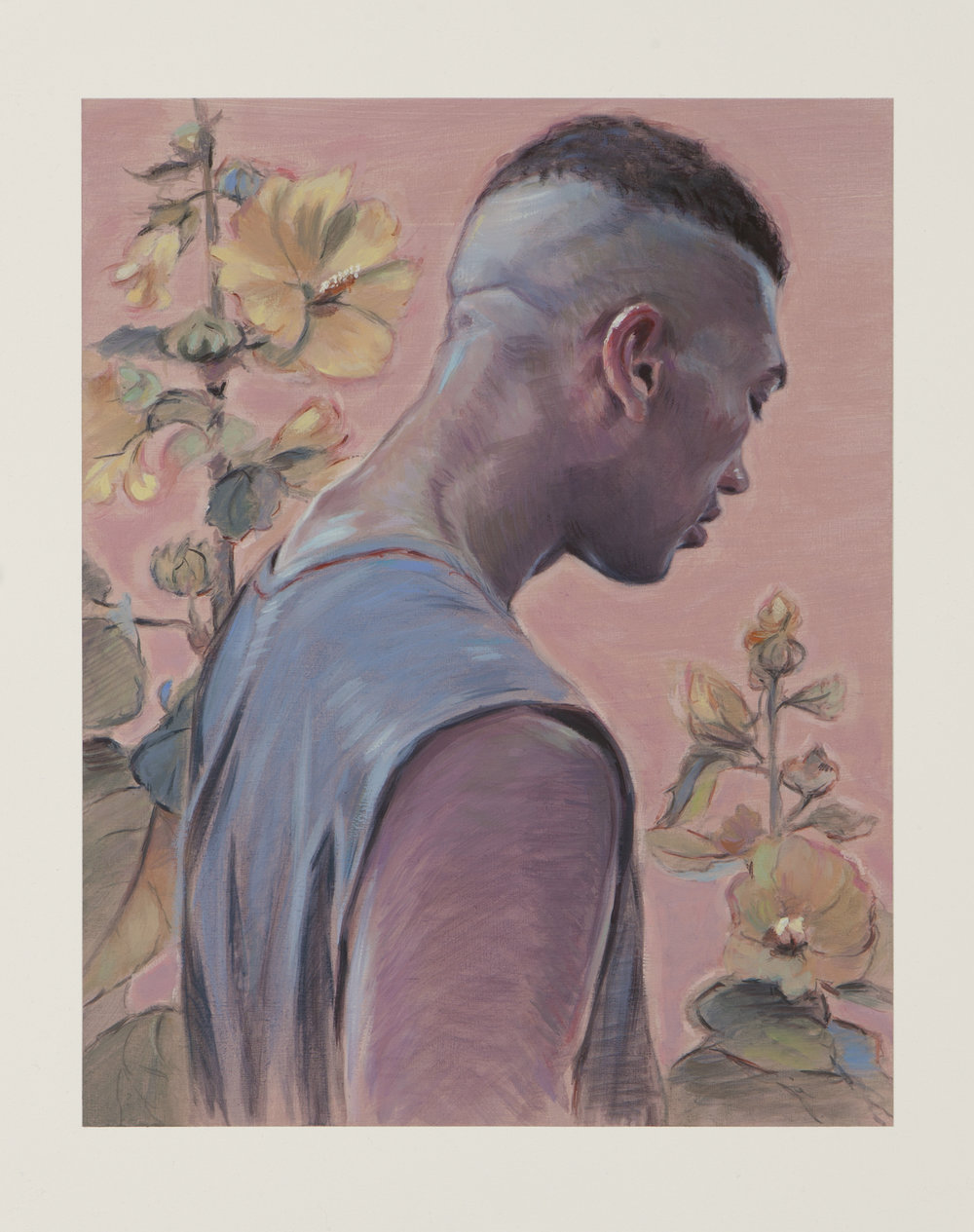 Kris Knight, Golden Hollyhock, 2017, oil on prepared cotton paper, image: 14 x11 inches