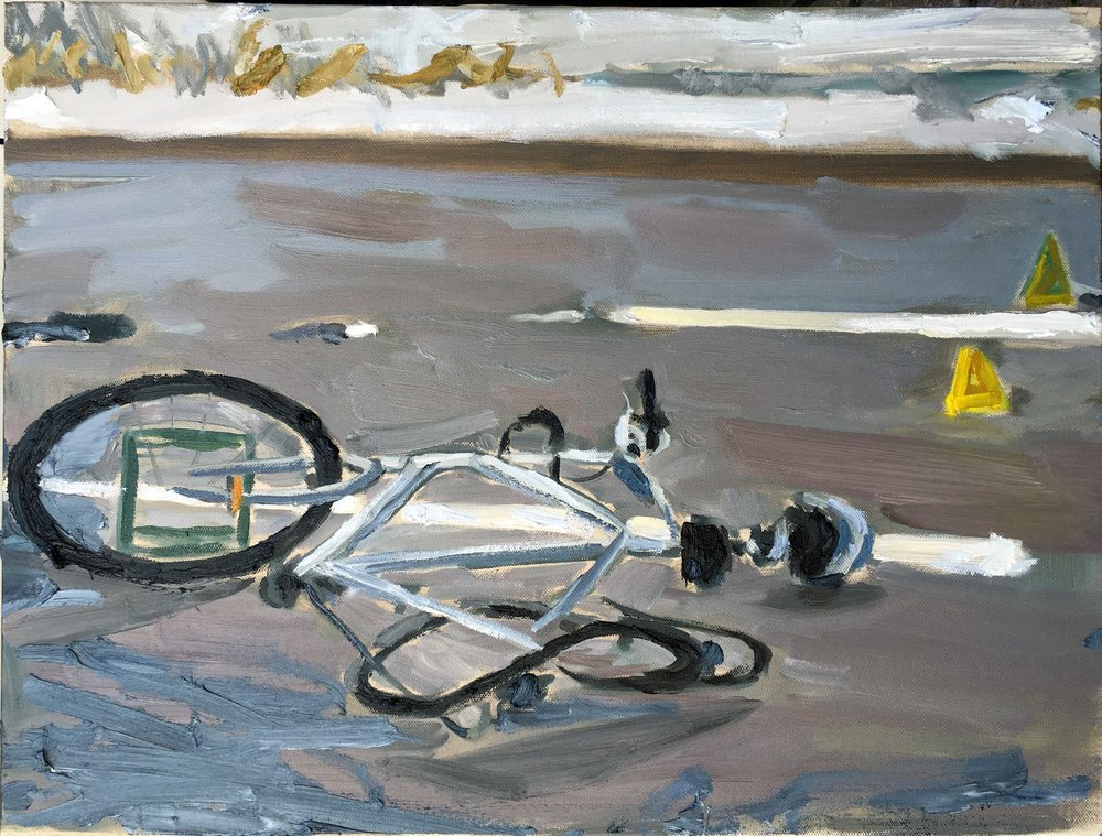 Untitled (bike), oil on canvas, 24 x 18 in.
