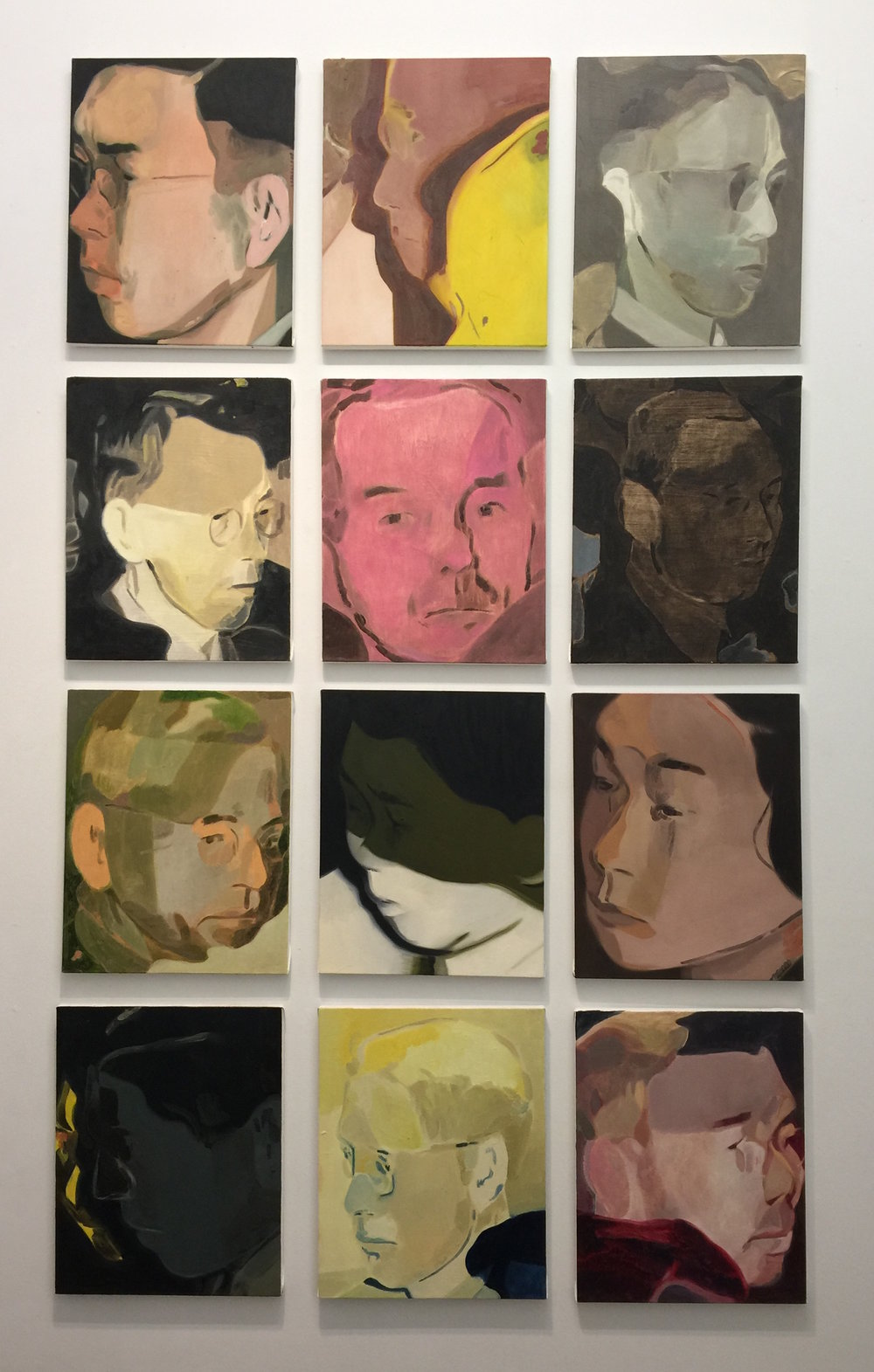 Anthony Cudahy, Everyone at the Funeral series, 2015-ongoing, oil on canvas, 19 x 15 inches each