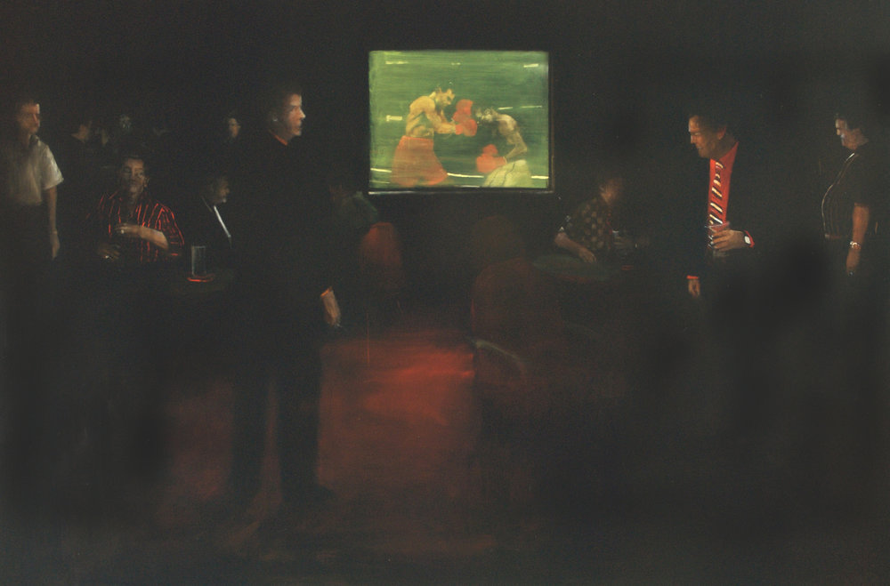 "Figures Pounding, 2009, 64"" x 96"", Oil on Canvas on Panel"