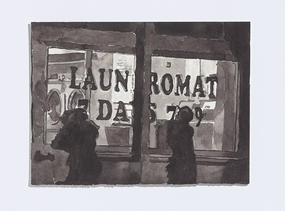Kids (Laundromat), 2017 ,ink on paper, 7-5/8th x 10 ¼ inches, ink on paper $1100 CAD $900 USD