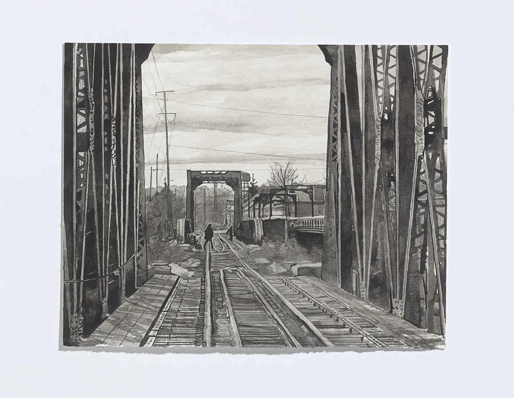 Bridge Scene, 2017,india ink on paper,8 x 10 1/8 inches $1200 CAD $1000 USD