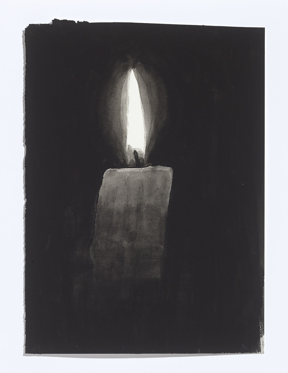 Candle, 2017, gouache on paper, 10 7/8th x 8 inches $1100 CAD $900 USD