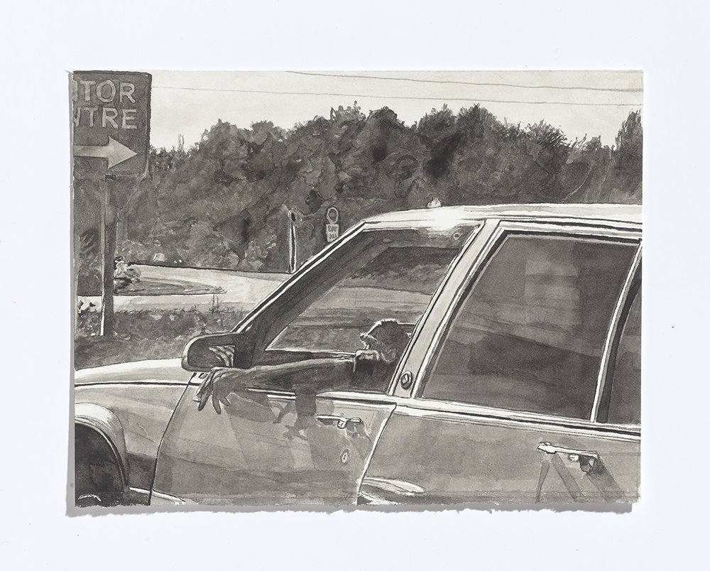 Driving on the 115, 2017, india ink on paper, 7 ¾ x 10 1/8th inches $1100 CAD $900 USD