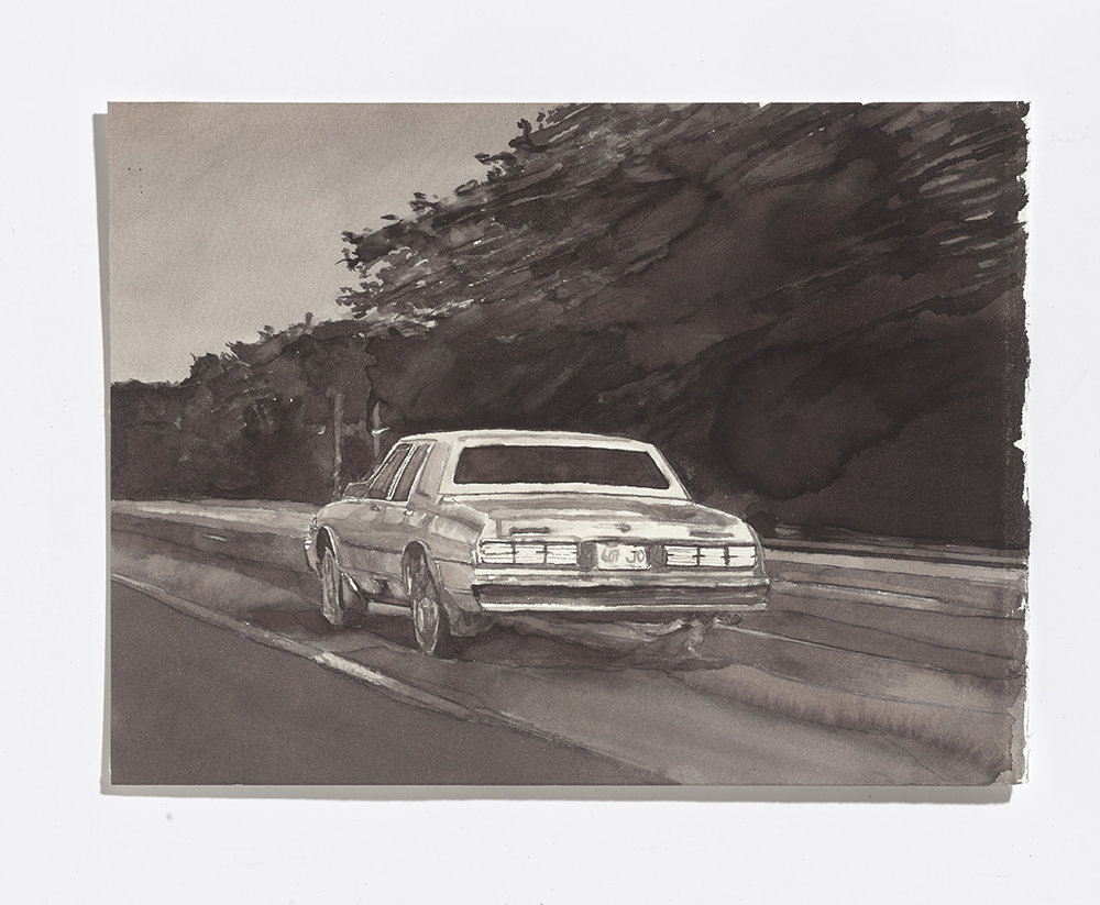 Highway, 2017, ink on paper, 7 ¾ x 10 ¼ inches $1000 CAD $800 USD