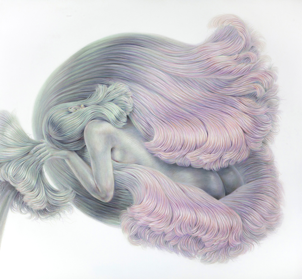 A Softer Shell, 2017, colored pencil on paper, 46 x 50 inches
