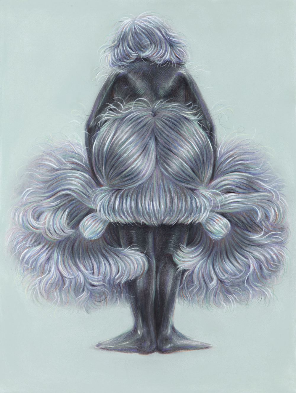 Wig Gown, 2017, colored pencil on paper, 24 x 18 inches