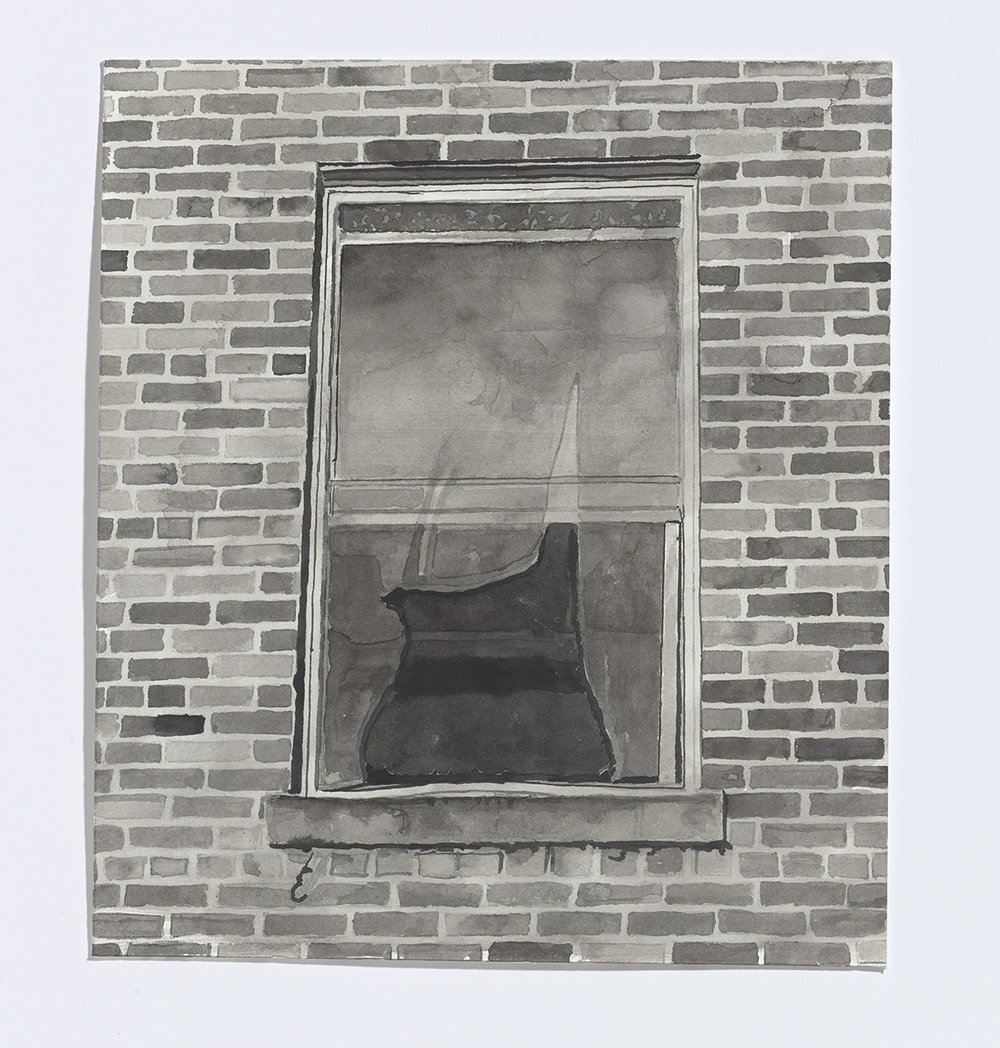 Abandoned window, 2017, india ink on paper, 9 1/8th x 8 in