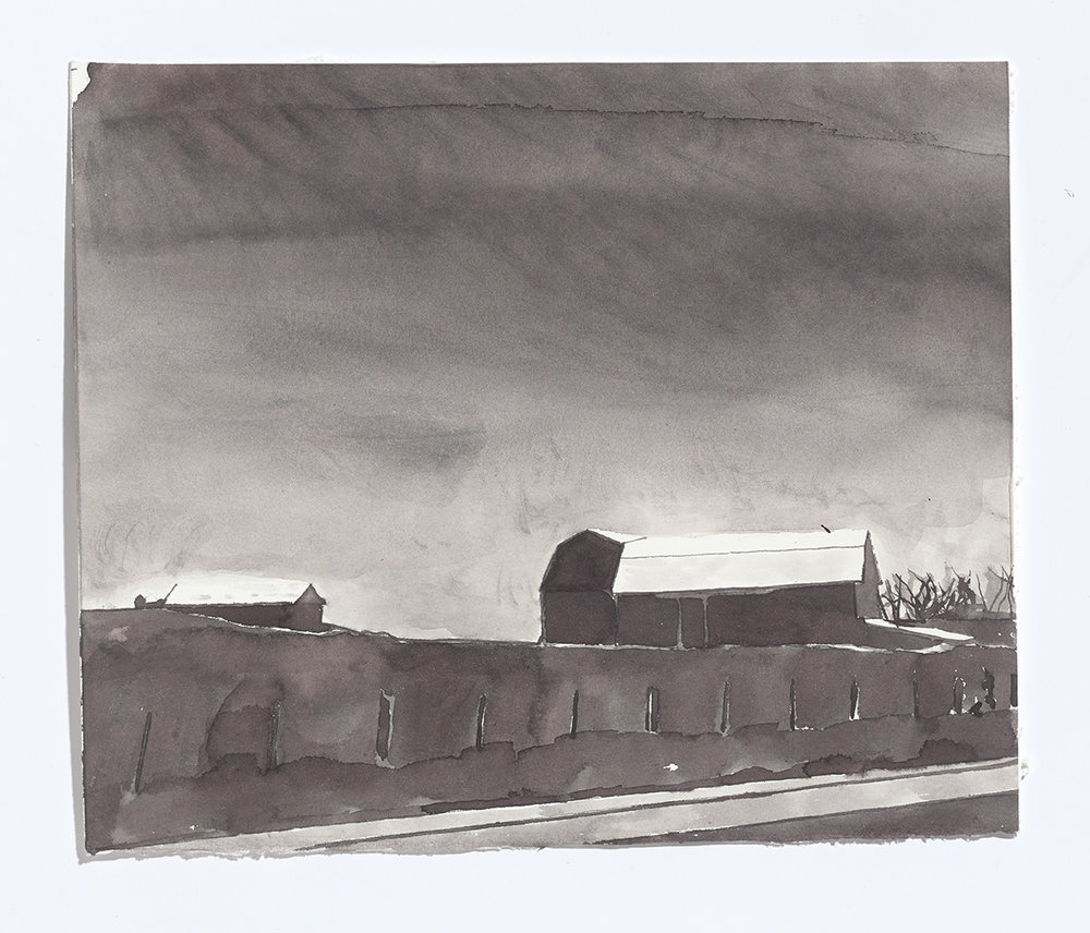 Barn on the 115, 2017, ink on paper, 8 3/8th x 10 1/8th in