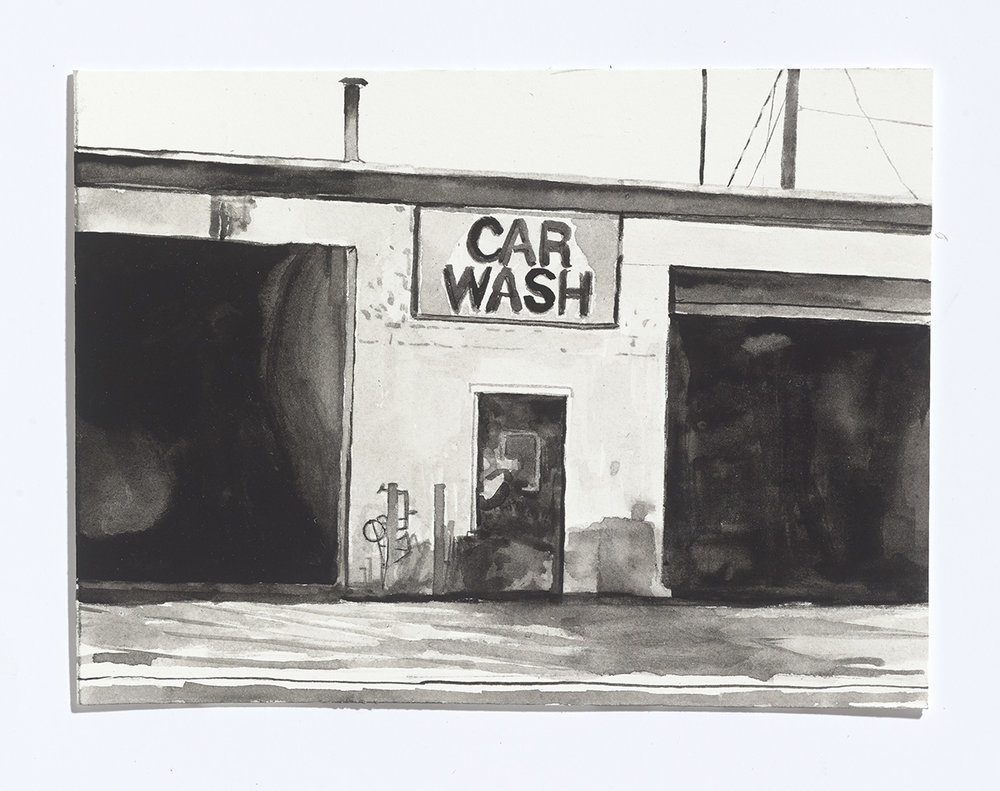 Car Wash, 2017, gouache on paper, 6 x 8 in