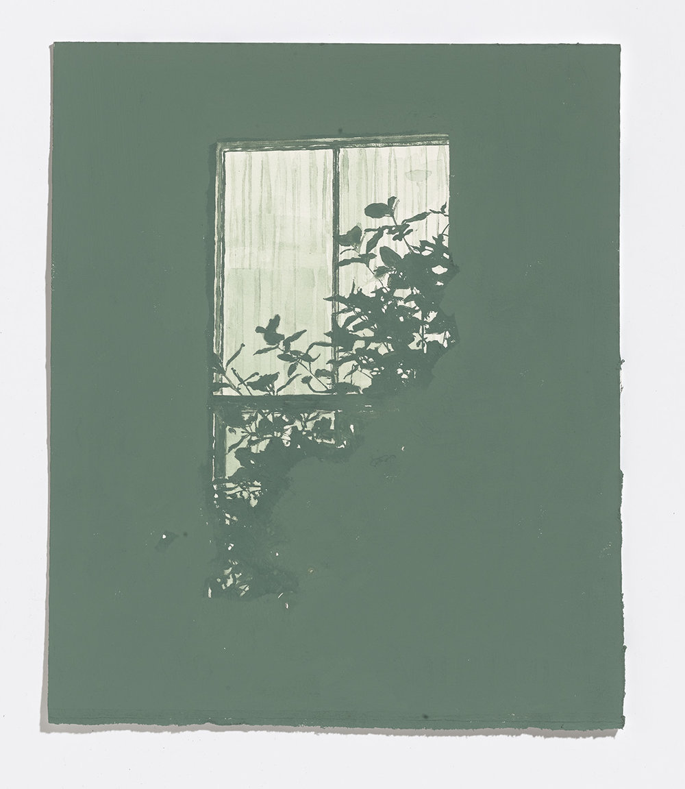 Faded Green Window, 2017, gouache on paper, 11 3/8th x 9.5 in