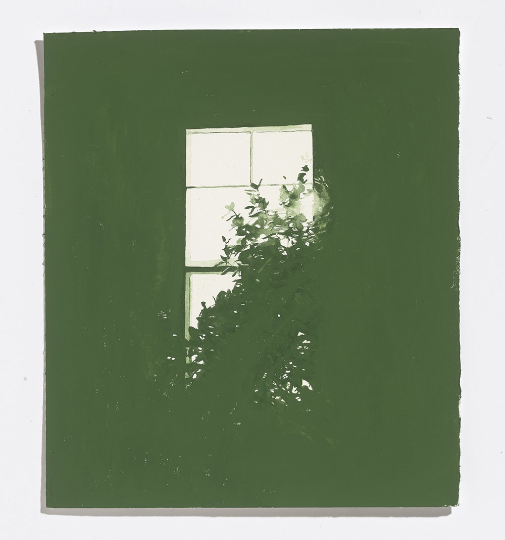 Green Window, 2017, watercolour on paper, 10.25 x 9 in