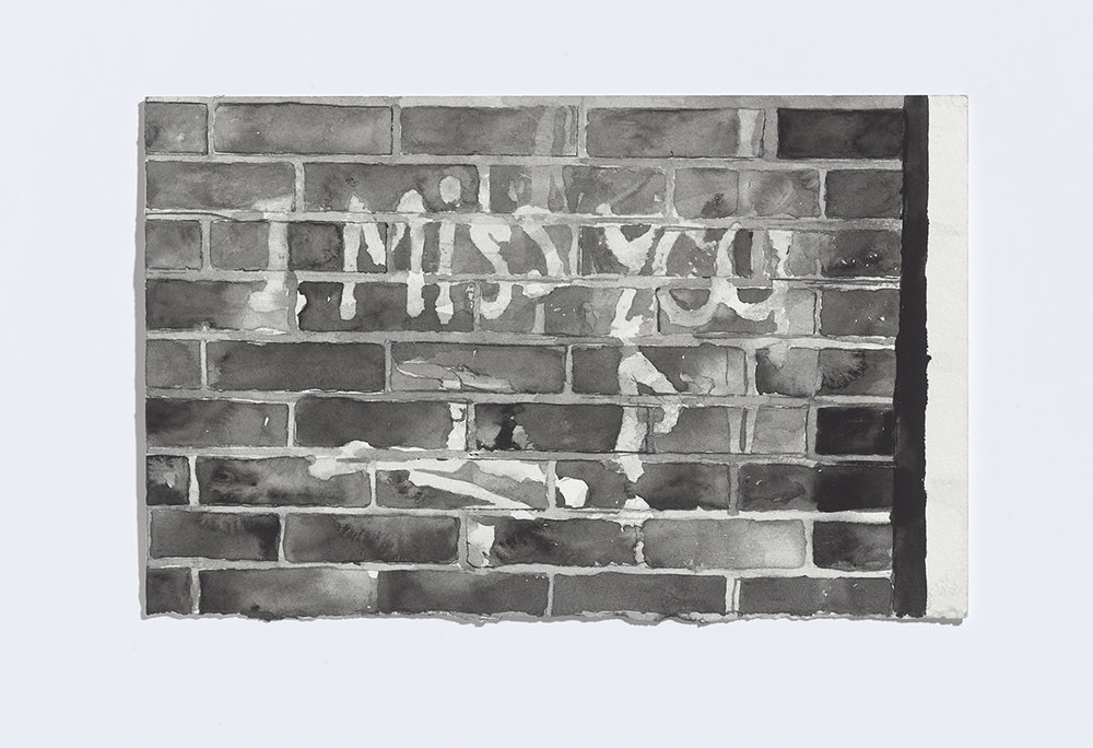 I miss you, 2017, watercolour on paper, 7 1/8th x 11 in