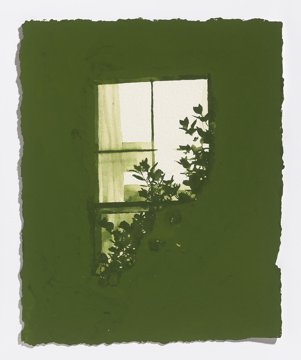 Olive window, 2017, gouache on paper, 14.25 x 11.5 in