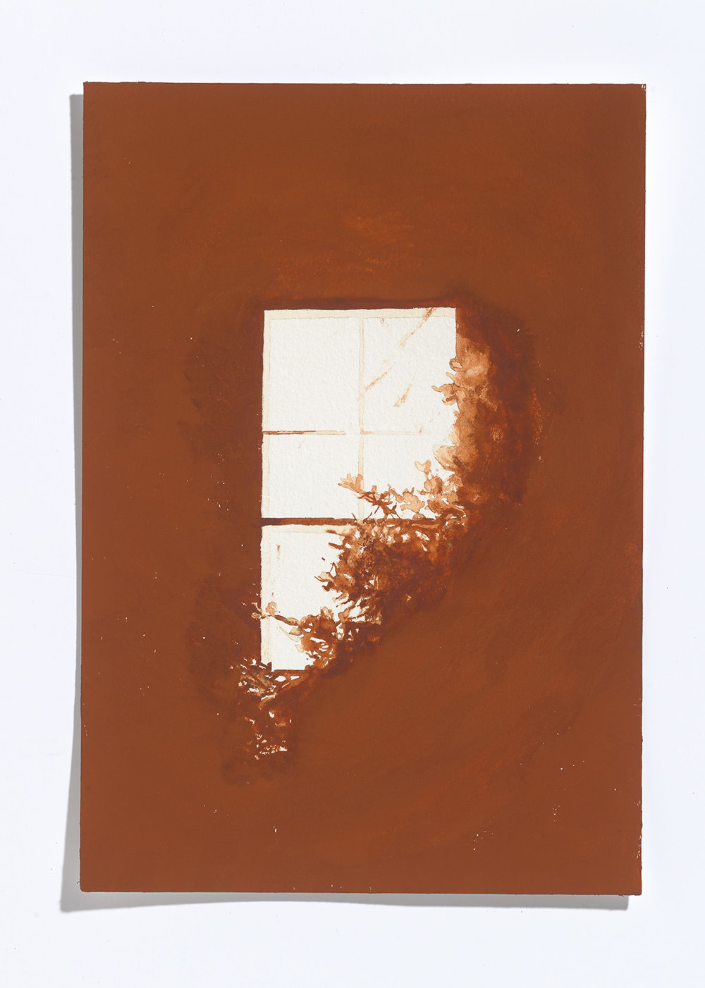 Rust window, 2017, gouache on paper, 10.25 x 7 1/8th in