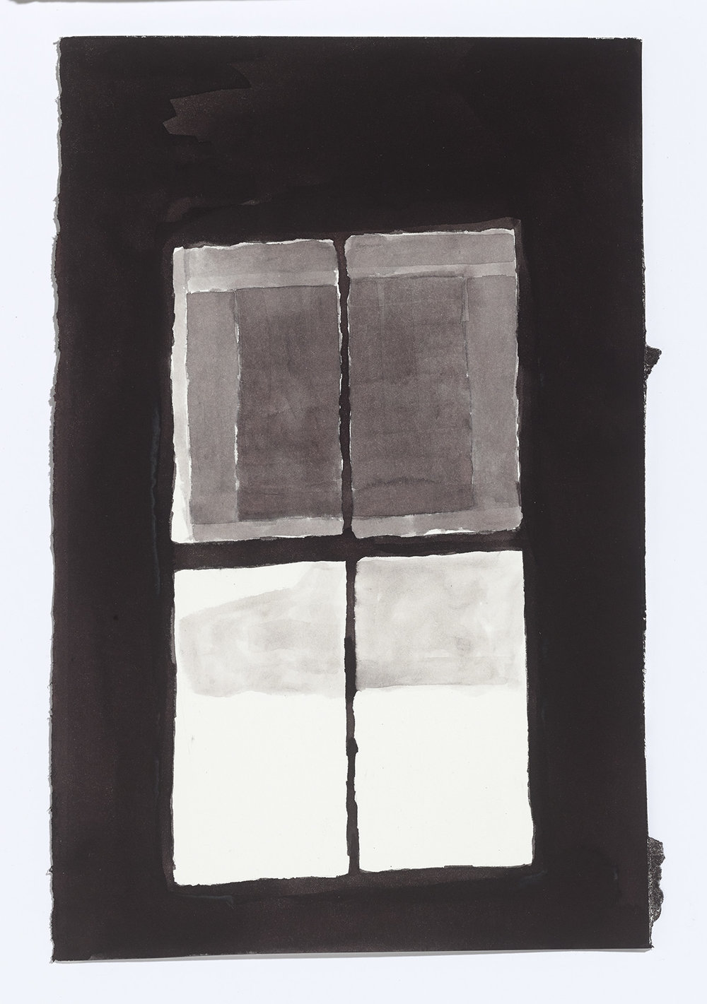 Water Street Window, 2017, ink on paper, 13 x 8.5 in