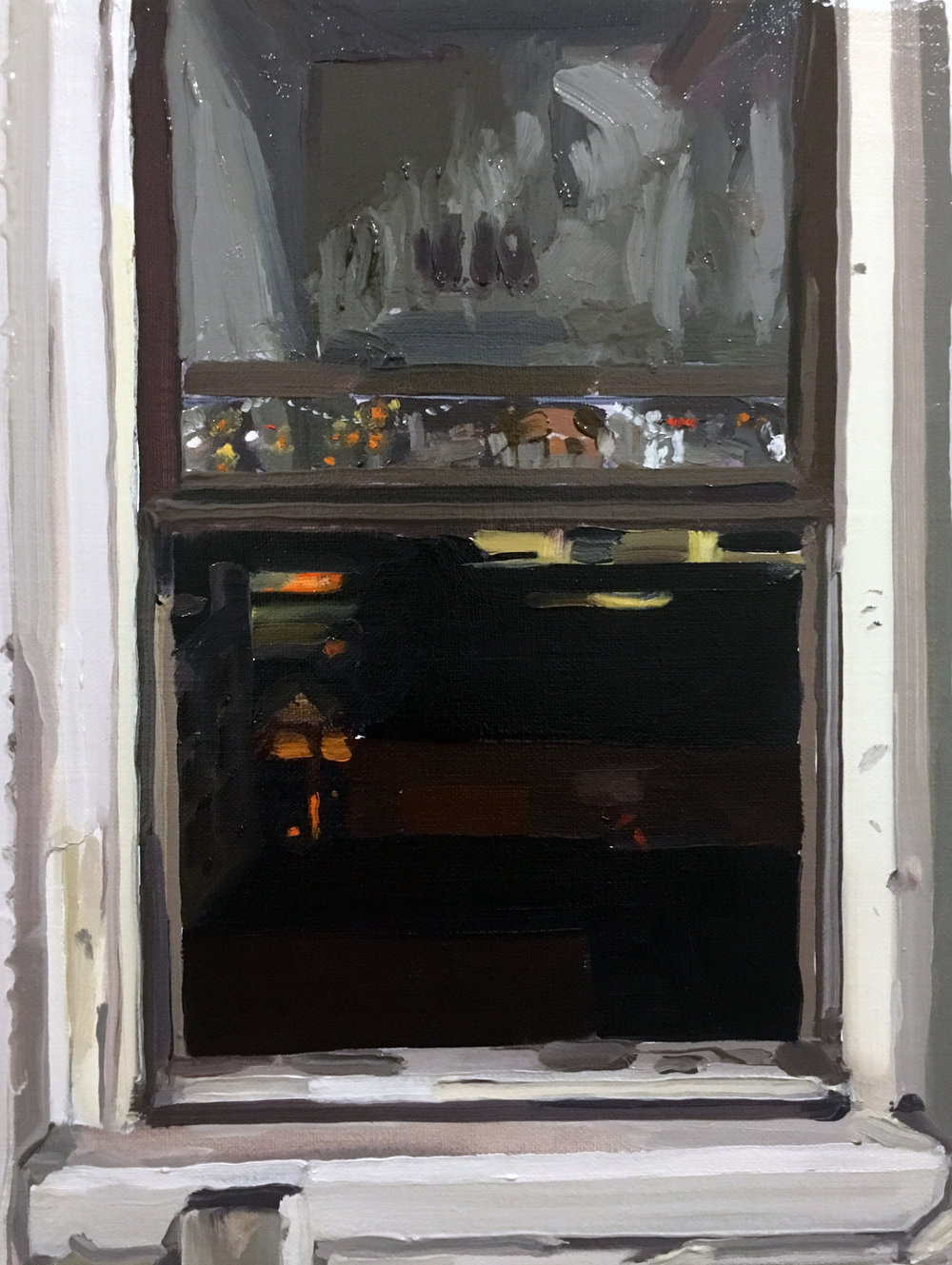 Night Window (8/19), 2017, oil on linen, 12 x 9 inches
