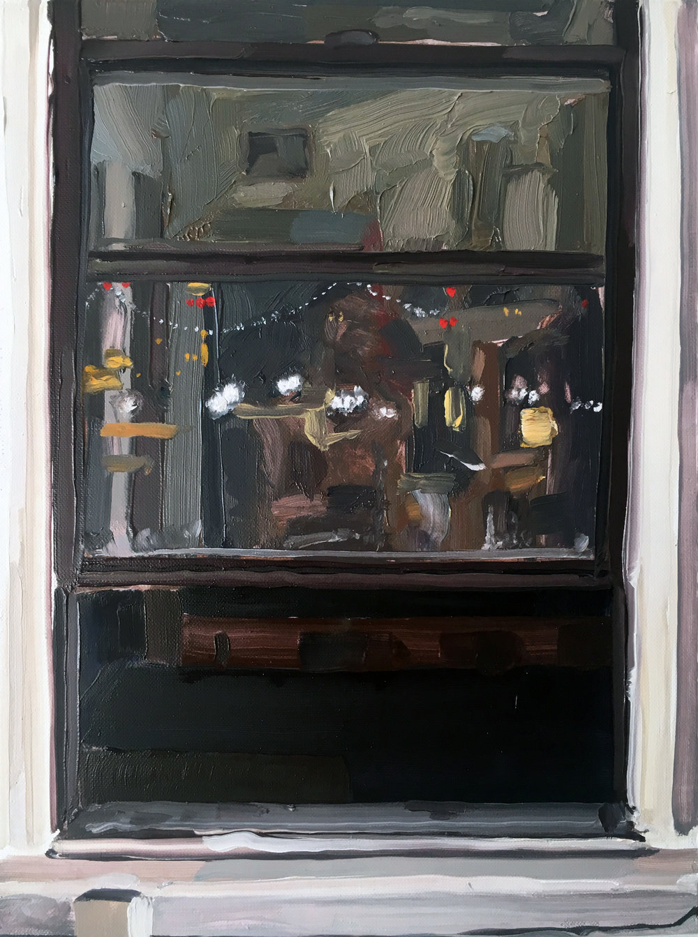 Night Window (6/30-7/1), 2017, oil on linen, 12 x 9 inches