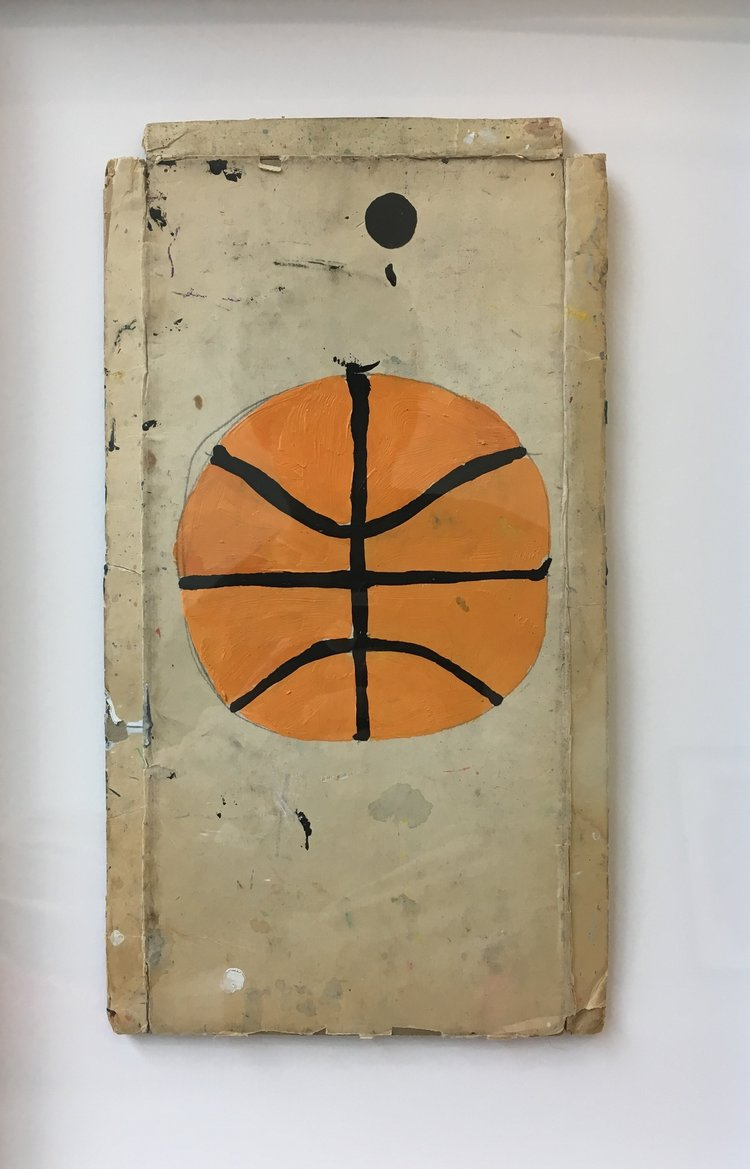 Untitled (Basketball), 2017, acrylic on cardboard, 12 x 6.75 in (unframed), 18.5 x 13 in (framed)