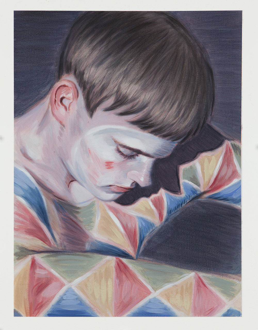 Kris Knight,  Stretching , 2017, oil on prepared cotton paper, 16 x 12 inches