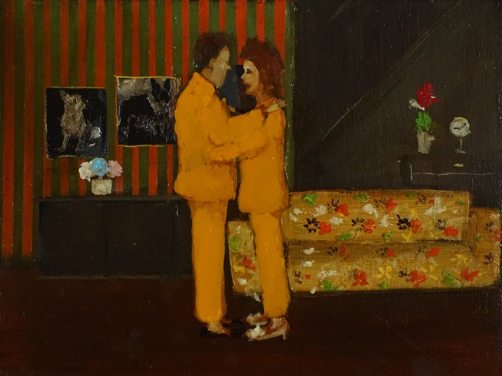 Michael Harrington, Pyjama Couple, 2017, oil on canvas, 9 x 12 inches SOLD