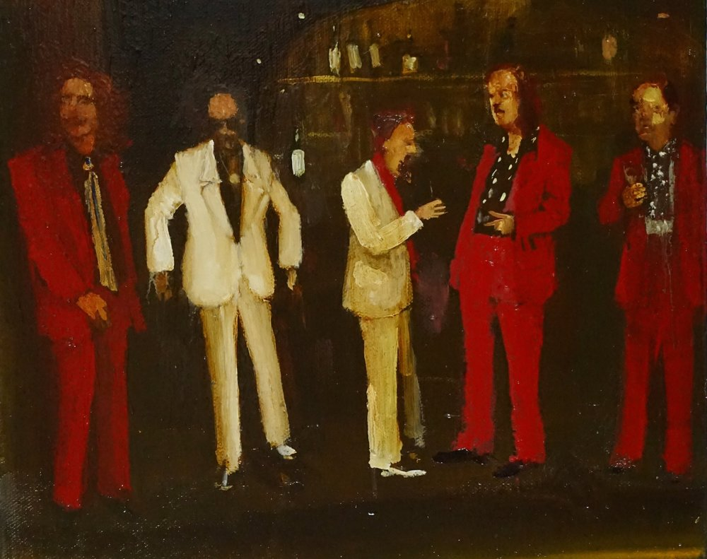 Michael Harrington, Red and White's Meeting no 2, oil on canvas, 10 x 12 inches