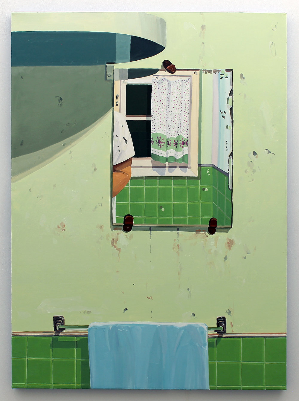 Keiran Brennan Hinton, Bathroom Window, 2017, oil on canvas, 60 x 44 inches SOLD