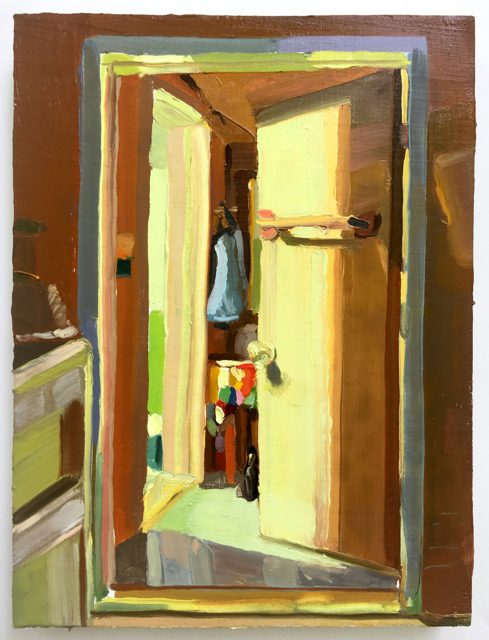 Keiran Brennan Hinton, Bathroom Light, 2017, oil on linen, 12 x 9 inches
