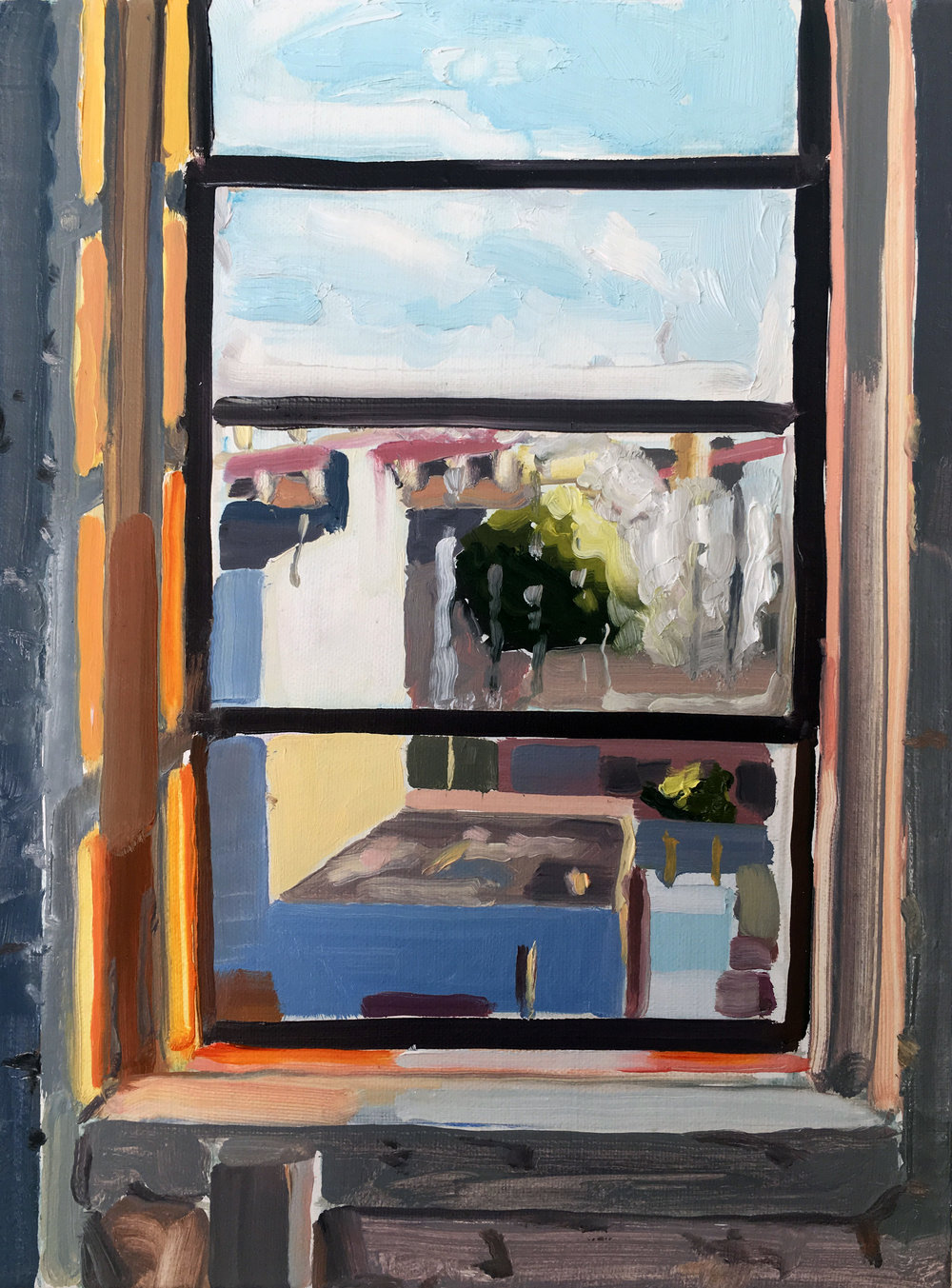 Keiran Brennan Hinton, Daytime Window 8-23, 2017, oil on linen, 12 x 9 inches