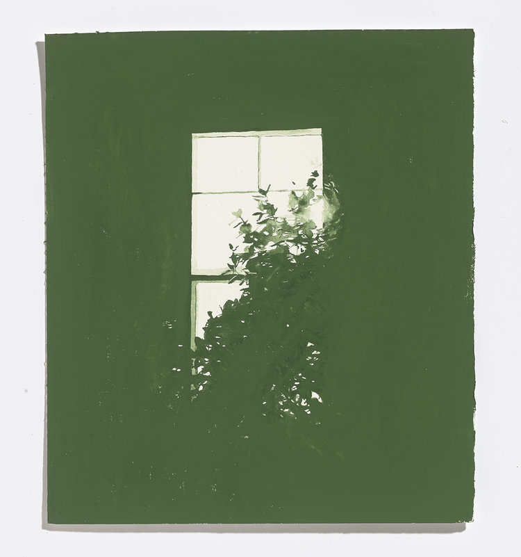 Alex Bierk, Green Window, 2017, watercolour on paper, 10.25 x 9 in.