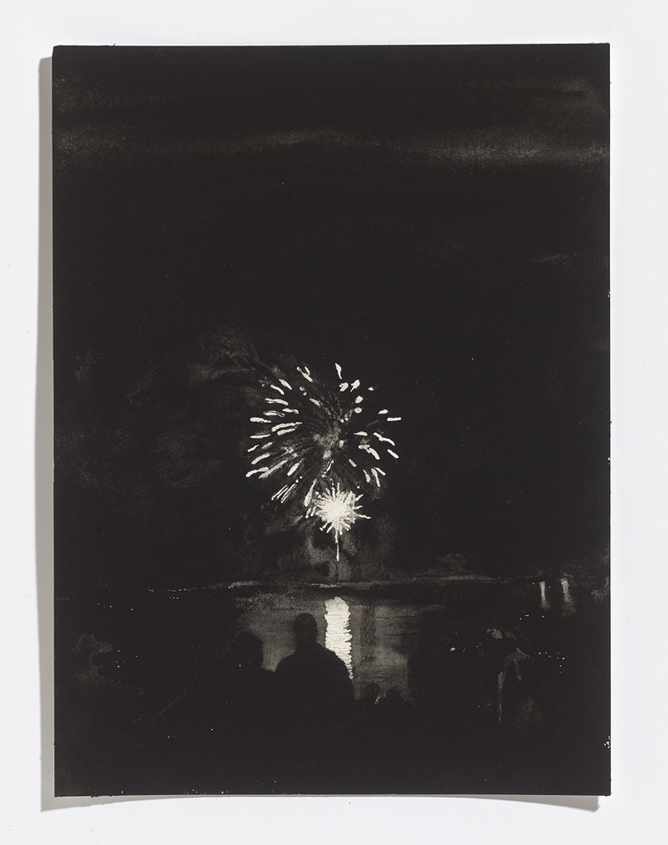 Alex Bierk, Fireworks on Little Lake, 2017, gouache on paper, 12.25 x 9 in.