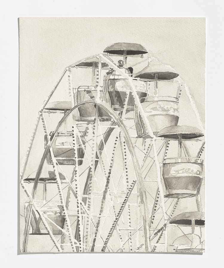 Alex Bierk, Ferris Wheel, 2017, india ink on paper, 11.25 x 8 in.