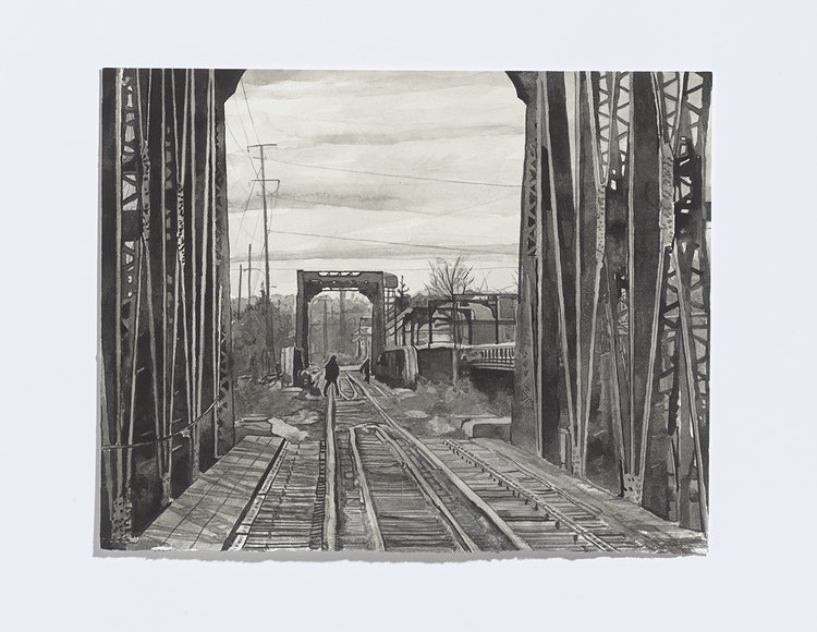 Alex Bierk, Bridge Scene, 2017, india ink on paper, 8 x 10 1/8 inches
