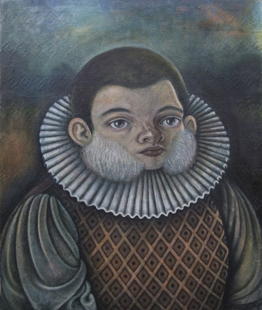 Woolly Cheeks , 2011, oil on canvas, 23 x 19 1/2 inches
