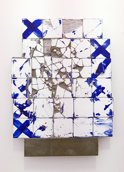 C.J. Chueca,  Blue Jeans (dawn in Venice Beach),  2018, ceramic tiles and wood, 22 x 29.5 inches  SOLD