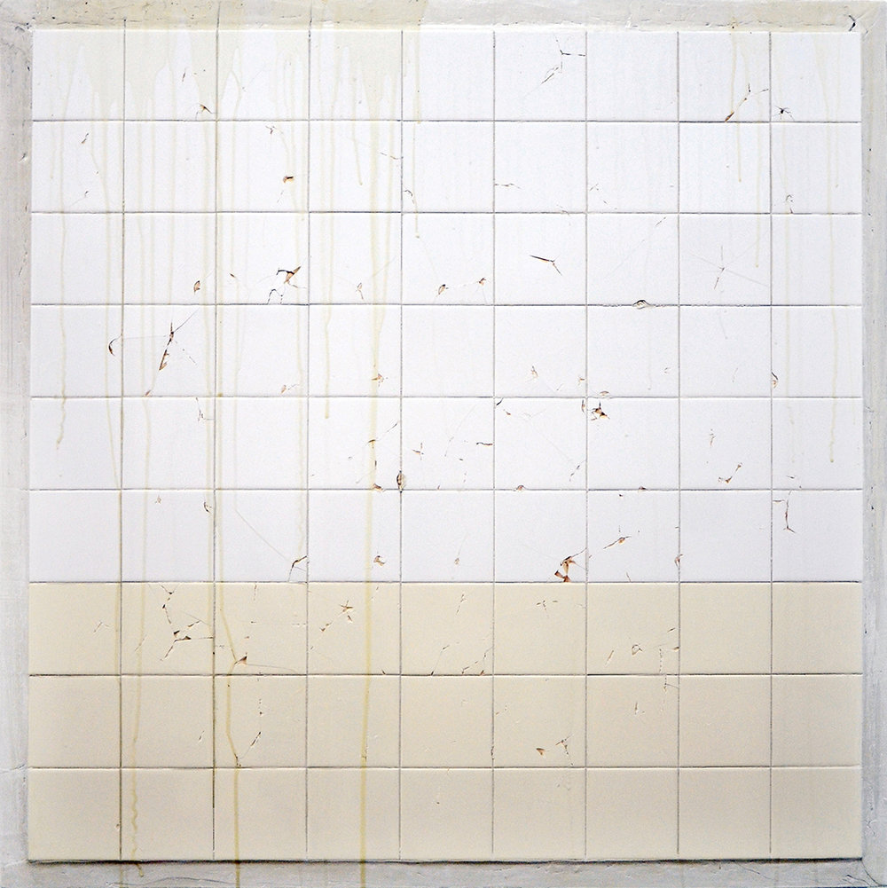 C.J. Chueca,  Body #6 (NY) , 2014, ceramic tiles on wood, 42 x 42 inches