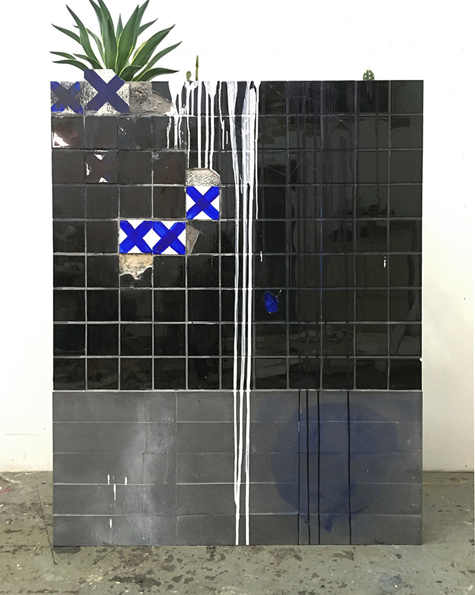 C.J. Chueca,  I am the river behind the wall (Night at Rio Mantaro),  2018, ceramic tiles, acrylic on wood, aloe and cactus, 48 x 70 inches