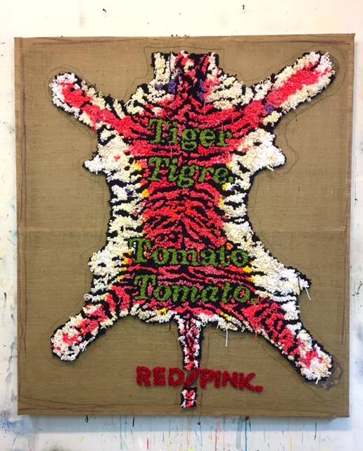 David Kramer,  Red Tiger/Pink , 2018, yarn on burlap, 59.5 x 52 inches